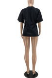 Casual And Loose Fashion Printed Black T-shirt PHH1209
