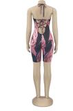 Summer News Euramerican Women's Print Deep V Neck Sexy Shorts Suits PHH1295