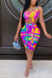 Summer Fashion Print Tie-Dyed Casual Skirt Suit PHH1296