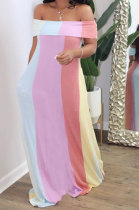 Sexy Trendy Loose Stripe Printing A Word Shoulder At Home Plus Long Dress N9233