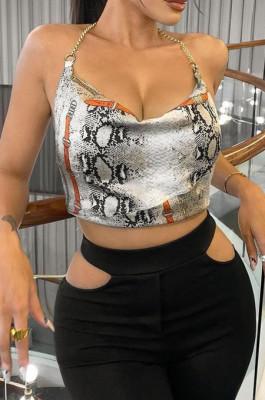 Night Club Fashion Snakeskin Print Sexy Hang A Neck Top YFS3702
