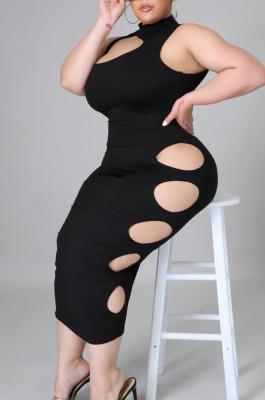 Euramerican Fashon Hole Pure Color Dress HY001