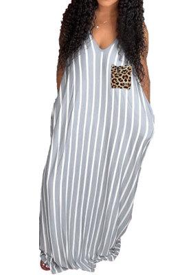 Women Sexy Stripe Gallus Leopard Pocket Long Dress YFS3659