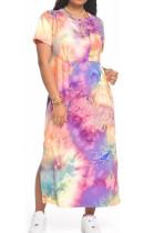 Euramerican Tie Dye Gradient Print Open Fork Long Dress TY1809