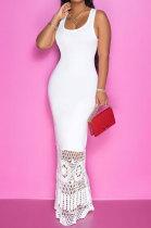 Women Lace Sleeveless Pure Color Long Dress JR3609