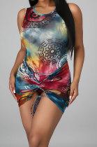 Sleeveless Printing Bind Club Skirts Sets DY6656