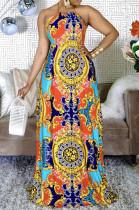 Euramerican Fashion Digital Printing Hang A Neck Big Pendulum Dress CM2123