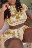 Fashion Casual Short Sleeve Print Sport Two-Piece W8378
