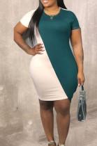 Fashion Round Neck Contrast Color Casual Dress JG035