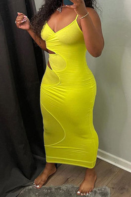 Pure Color Gallus Sexy Hollow Out Long Dress GLS8148