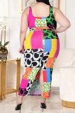 Leopard Letter Printing Vest Slit Skirt Plus Skirt Sets GL7021