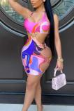 Euramerican Women Digital Printing Hang A Neck Sexy Dress ARM8263