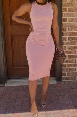 Trendy Casual Pure Color Sleeveless Midi Dress GLS8160