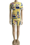 Fashion Casual Cartoon Graphic Tie Dye Print Two-Piece WM2417