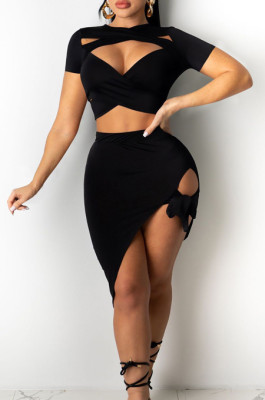 Fashion Pure Color Bind Short Skirt Two-Piece JH227