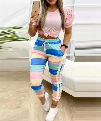 Splice Colorful Sweatpants QBE4063