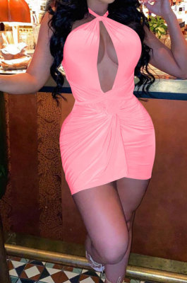 Pure Color Personality Hollow Out Kink Bind Mini Dress QMQ7041