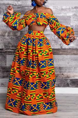 Fashion Print Slit Skirt FQRA008
