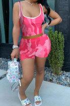 Fashion Sexy Printing Pure Color Vest Shorts Sets QQX1208