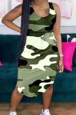 Camo Sexy V Neck Irregularity Belt Mini Dress QQX1206