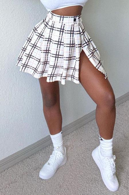 Sexy Club Plaid Open Fork Irregularity Vintage Printing Skirts CYC745