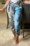 Contrast Color Tie Dye Casual Belt Long Pants KXL832