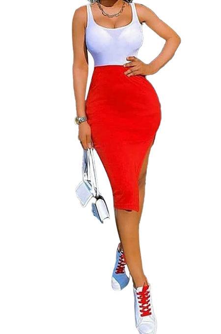 Pure Color Open Fork Spliced Sexy Vest Midi Dress KXL830