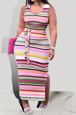 Contrast Color Printing Stripe Gallus Pit Bar Long Dress KXL828