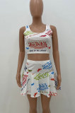 Women Fashion Casual Sexy Letter Printing Cultivate One 's Morality Sport Vets Skirts Sets AMW8312