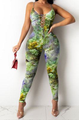 Color Printing Hollow Out Bind Gallus Bodycon Jumpsuits Q838
