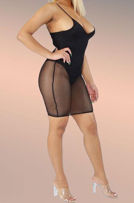 Net Yarn Spliced Swimwear Gallus Mini Dress AMW8091