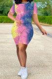 Women Pineapple Cloth Yoga Suit Casual Sport Tie Dye Shorts Sets Q797