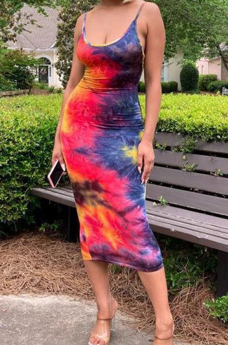 Sexy Trendy Gallus Printing Tie Dye Backless Midi Dress AMW8220