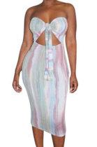 Boob Tube Top Sexy Midi Dress XXR4029