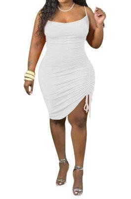Gallus Monolateral Shirred Detail Fashion Cultivate One's Morality Pure Color Plus Mini Dress Q6049