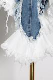 Sexy Contrast Color Denim Zipper Irregular Mini Dress TVE24937