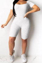 Sexy Fashion Pure Color Hollow Out Bind Romper Shorts AMW8182