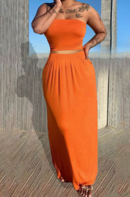 Sexy Bandeau Bra Pure Color Skirts Sets Q842