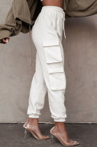 Casual Pure Color Pocket Knotted Strap Long Pants Soprt Vest Two-pieces QLY95013