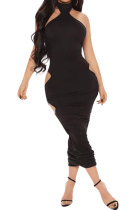 Halter Neck Sexy Hollow Out Ruffle Pure Color Midi Dress Q778