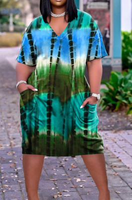 Casual Tie Dye Print Loose V Neck Dress ARM8270