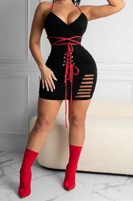 Women Gallus V Neck Bind Sexy Hurnt Flower Mini Dress KKY8025