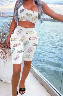 Printing Letter One Shoulder Sleeveless Vest Shorts Sets BE8022