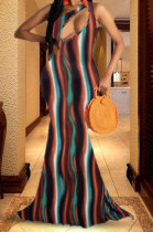 Printing Hollow Out Loose Sleeveless Long Dress HHB4015