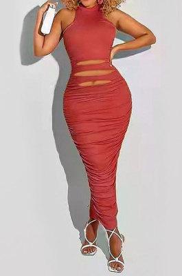Brick Red Sleeveless Pure Color Mid Waist Seyx Long Dress HHB4011