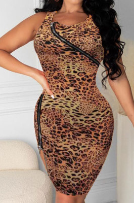 Zipper Leopard Package Buttocks Sexy Mini Dress HHB4021