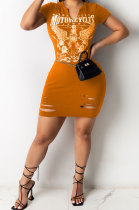 Hurnt Flower Positioning Printing Hole Mini Dress YY5262