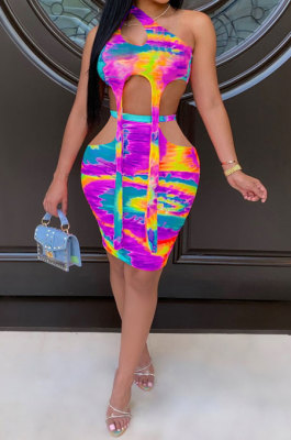 Sleeveless Tie Dye Sexy Package Buttocks Skirts Sets MOL128
