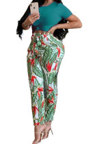 Fashion Women O Neck Top Red Green Spelling A Flower Pants Sets LW6017