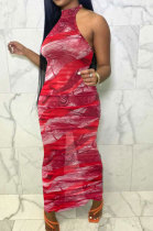 Sexy Women Net Yarn Sleeveless Shirred Detail Printing Long Dress NK235
